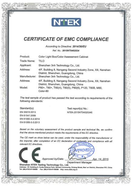 CE certificate of color light box