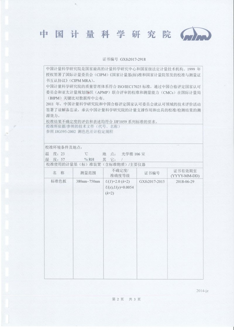 National Institute of Metrology NR20XE calibration certificate